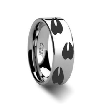 Thorsten Rings Deer Track Print Design Engraved Flat Tungsten Carbide Ring 6MM