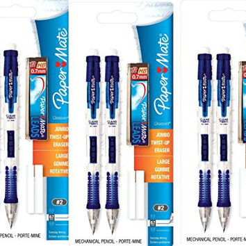 Paper Mate Clear Tip 0.7mm Mechanical Pencil Starter Set Colors May Vary (56047PP)- 3 Pack
