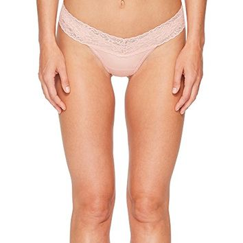 Hanky Panky Organic Cotton Low Rise Thong w/ Lace