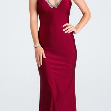 Burgundy Long Formal Dress with Spaghetti Straps