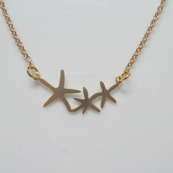 Matte Gold Starfish Necklace, Small Minimalist Necklace, Modern Dainty Jewelry, Sea Stars