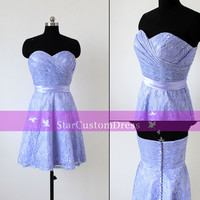 Lavender Short Lace Bridesmaid Dress Strapless Dress Short sweetheart Wedding party dresses