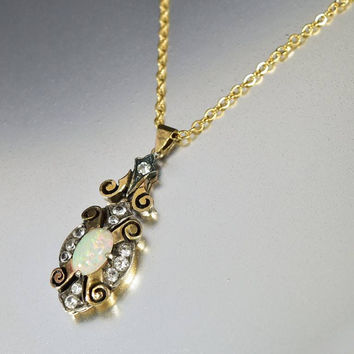 Edwardian Gold Opal White Sapphire Pendant Necklace