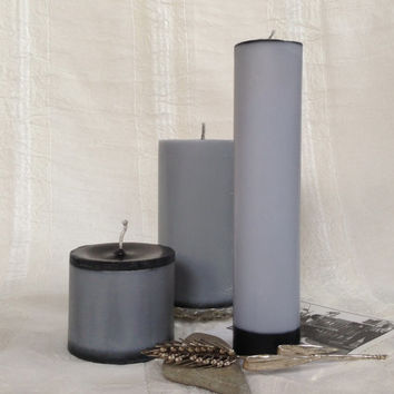 Purl gray soy pillar candles, unscented gray soy pillar candles, contemporary soy pillar candles