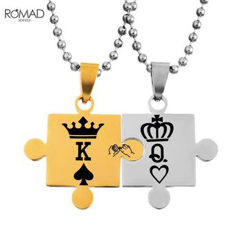 Cool 1Set Couple Neckalces with jigsaw Pattern King Queen Pendant Carved Crowns Stainless Steel Love Necklaces Jewelry collier femmeAT_93_12