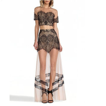 contrast color lace women dress two piece dress = 1876503620