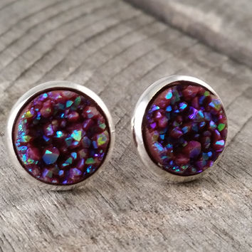 Druzy earrings-  Chocolate drusy silver tone stud druzy earrings