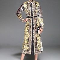 Designer Leopard Print Long Sleeve Button Down Dress with Belt
