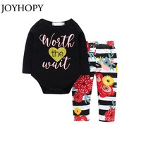 JOYHOPY Infant Baby Girls Clothes Outfits 2PCS  Rompers+Pants Spring Autumn Enfant Baby Girl Clothes set