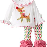 Mud Pie Baby-Girls Newborn Reindeer Tunic and Legging Set, Multi, 6-9 Months