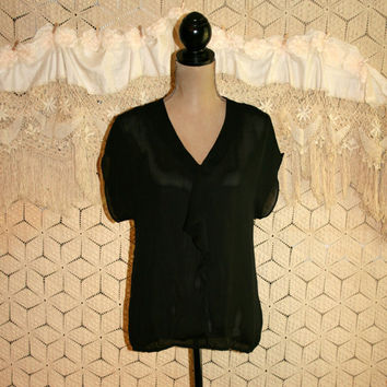 Sheer Black Blouse Oversized Black Top Chiffon Ruffle Dolman Sleeve Women Tops Women Blouses V Neck Ann Taylor Small Womens Clothing