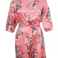 Women Coral Silky Floral Bath Robe Online