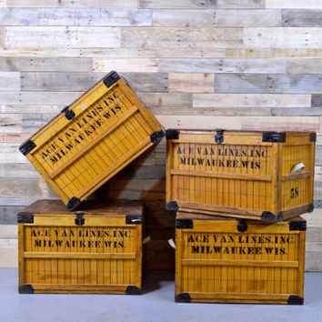 Vintage Wood Crate, Bread Shipping Crate, G B Lewis, Milwaukee, Ace Van Lines, The Lewis Box