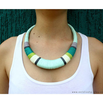 Statement necklace - mint necklace - turquoise necklace - crochet necklace - african necklace