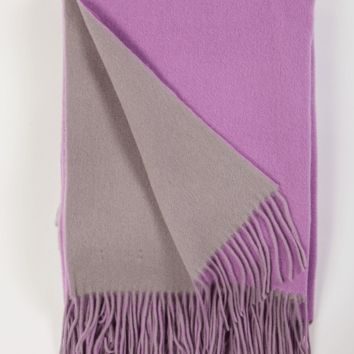 Thistle and Platinum Wool / Cashmere Double-Faced Throw