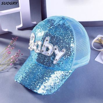 Trendy Winter Jacket SUOGRY 2017 Gorras Fashion Casual Casquette Children Girls Baseball Cap Pearl Diamond Sequins Baby Snapback Caps Hats AT_92_12
