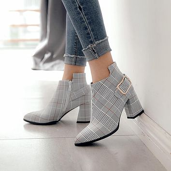 ef8046468 Women Fashion Plaid Pointed Toe High Heels Sexy Autumn Winter An