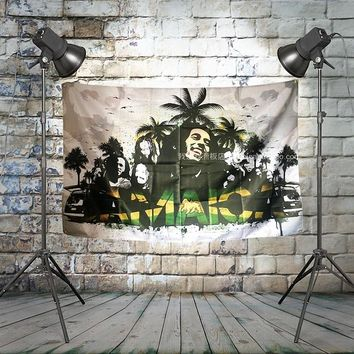 BOB marley JAMAICA Large Rock Band Flag Cloth Banners Wall paintings Retro Poster Music Party Background Decor