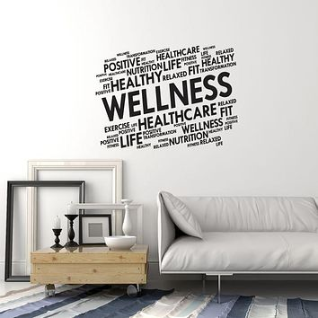 Vinyl Wall Decal Wellness Home Gym Words Cloud Spa Fitness Center Health Stickers Mural (ig5976)