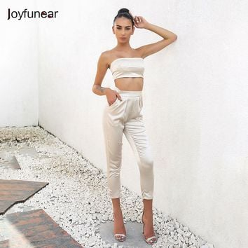 Joyfunear Autumn Winter bodysuit Sashes Crop Top and Pants Set Lady Clothing Outfits Ladies Two Piece Set Casual Slim Design