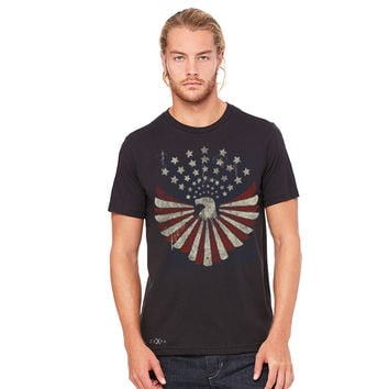American Bald Eagle USA Vintage Flag Men's T-shirt Patriotic Tees