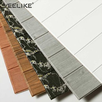 3D Wood Wallpaper Rustic PE Form Vinyl Brown Faux Plank 3D Self Adhesive Wall Paper Stickers For Bedroom Living Room Background