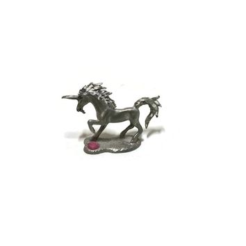 Vintage Spooniques Pewter Unicorn with Pink jewel HMR 526
