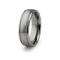 Adam's Free-Form Laser Engraved Tungsten Carbide Ring