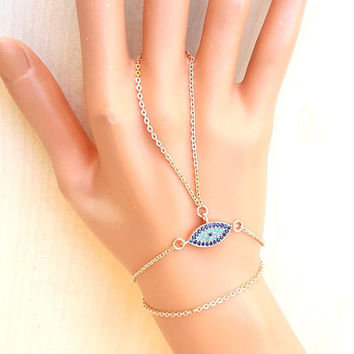 Rose gold slave bracelet, evil eye jewelry, ring bracelet, hand bracelet, christmas gift, chain bracelet, best friend gift