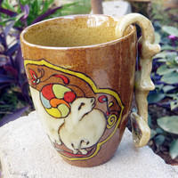 Handpainting Ceramic Cup Mug with Spoon: Goat and Tiger