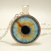 Eye Pendant Necklace, Third Eye Jewelry, Evil Eye Charm, Eyeball Pendant - Green and Yellow