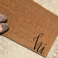 "Welcome Mat / Doormat Personalized with hi - 18x30"" natural coir"