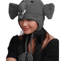 Animal Face Hat GREY ELEPHANT Wool Beanie Winter Ski Cap Teen / Adult size