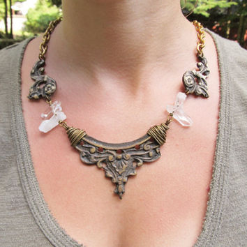 Statement Necklace Brass Collar Bib Necklace Art Nouveau Wire Wrap Quatz Crystal Point Rustic Jewelry Game of Thrones Danielle Rose Bean