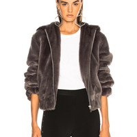 Helmut Lang Hooded Faux Mink Bomber Jacket in Seal | FWRD
