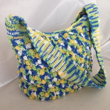 Spring/ Summer Crochet Tote Bag, beach bag, ready to ship, Multi Colored cotton cord, Handmade crochet tote bag, crochet bag, lined handbag