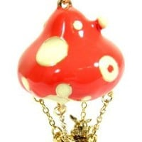 Mushroom Hot Air Balloon Rabbit Necklace Vintage NE20 Gold Tone Charm Pendant Fashion Jewelry