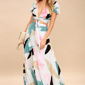 Daydreaming White Print Two-Piece Maxi Dress