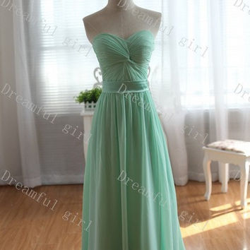 Sweetheart mint green with satin sash bridemaid dress ,evening dress ,prom dress