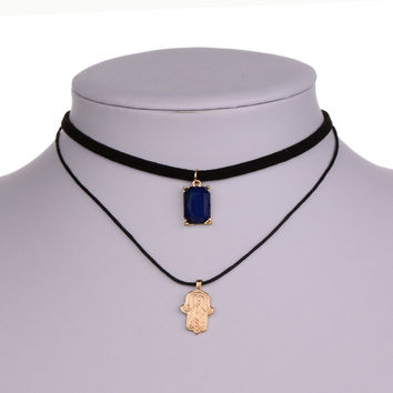 Shiny Jewelry Stylish New Arrival Gift Korean Vintage Chain Double-layered Alloy Crystal Pendant Necklace [8581988935]