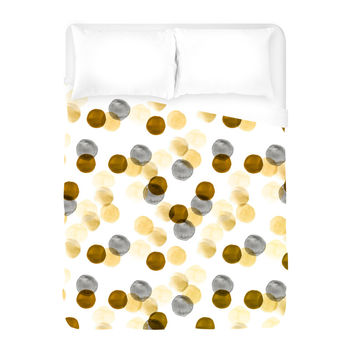 Gold Watercolor Dots Duvet Cover