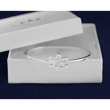 Autism and Aspergers Open Puzzle Bangle Bracelet