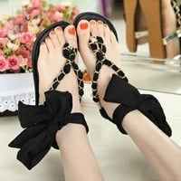 Fashion Black Sweet Roman Style Adjustable Bandage  Flat Shoes
