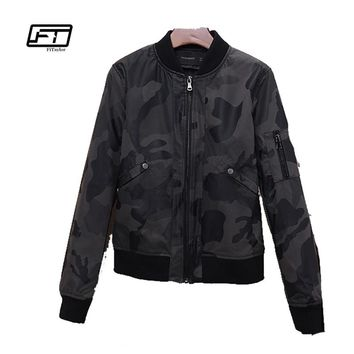 Fitaylor 2018 New Spring Autumn Women Camouflage PU Leather Jackets Casual Military Outwear Moto Biker Punk Jackets
