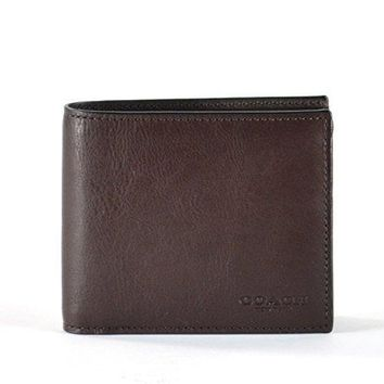 Coach Compact Id Sport Calf Bifold Wallet In Mahogany Brown 74991