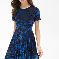 FOREVER 21 Velveteen Floral Dress Black/Royal