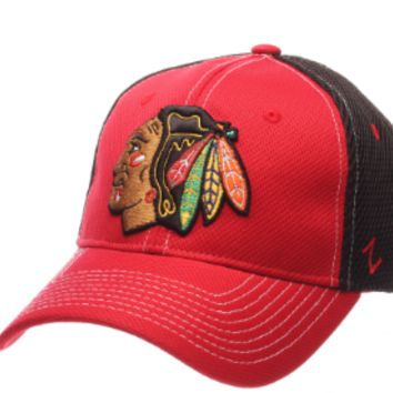 Men's Chicago Blackhawks Zephyr Red/Black Flex Fit NHL Rally 2 Hat