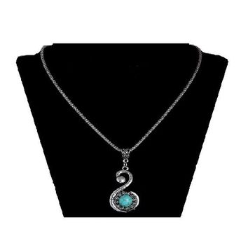 Vintage style silver chain blue austrian crystal turquoise pendant statement necklace