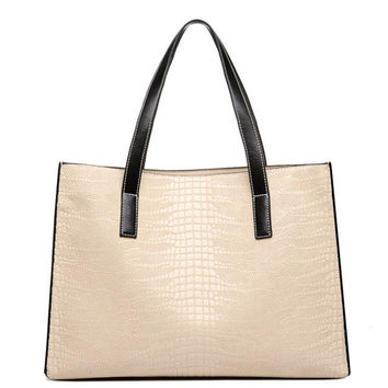 Women PU Shouldr Bag Sling Bag Simple Portable Crocodile Pattern Big Bag Tote