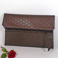 Evening clutch bag, wedding clutch for bride, foldover leather clutch, Copper leather purse, gift for bridesmaids, wedding brown clutch bag